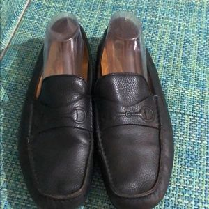 Gucci Chabas Pebbled Leather Black Driving Shoes